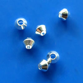 Bead, silver-plated brass, 3mm bicone, pkg of 30 pcs