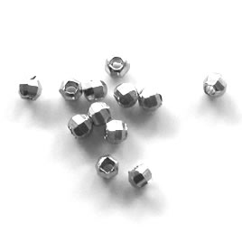 Bead, silver-plated brass, 3mm faceted round, pkg of 20 pcs