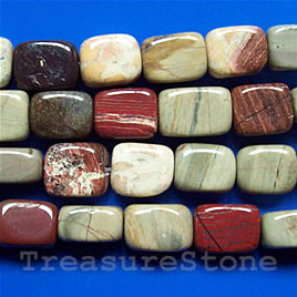 Bead, silver leaf jasper, 11x14 flat rectangle. 16-inch strand