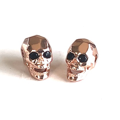Bead, brass, rose gold, 8x13mm skull with crystals. ea