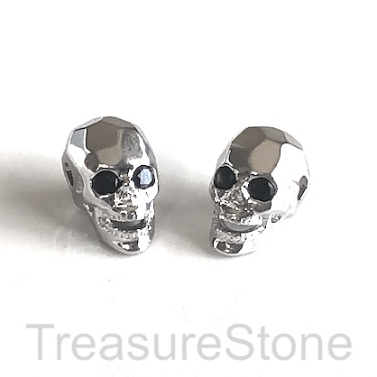 Bead, brass, silver, 8x13mm skull with crystals. ea