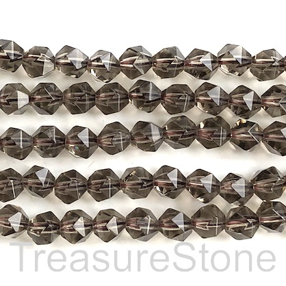 "Bead, smoky quartz,9x10mm faceted, star cut.15.5"", 40pcs"