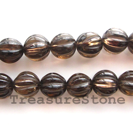 Bead, smoky quartz, 10mm hand-carved round. 16-inch strand.