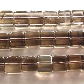 Bead, smoky quartz, 10mm cube. 15-inch strand.