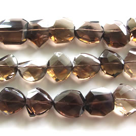 Bead, smoky quartz,about 18x20mm faceted nugget. 15-inch strand.