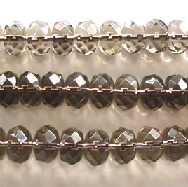 Bead, smoky quartz, 8x12mm faceted rondelle. 15 inch.