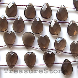 Bead, smoky quartz, 10x14mm faceted flat teardrop. 28pcs.