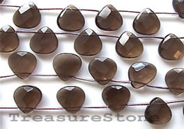 Bead, smoky quartz, 8mm faceted flat teardrop. 35pcs.