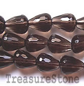 Bead, smoky quartz, 8x10mm faceted teardrop. 16-inch strand.