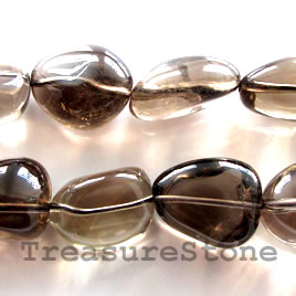 Bead, smoky quartz, 21mm nugget. 16-inch strand.