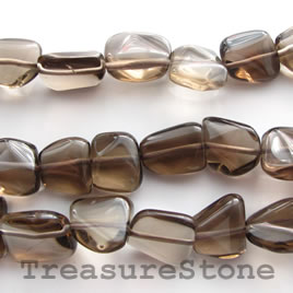 Bead, smoky quartz, 13mm nugget. 16-inch strand.