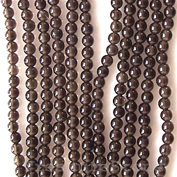 Bead, smoky quartz, 3mm round. 16-inch strand.