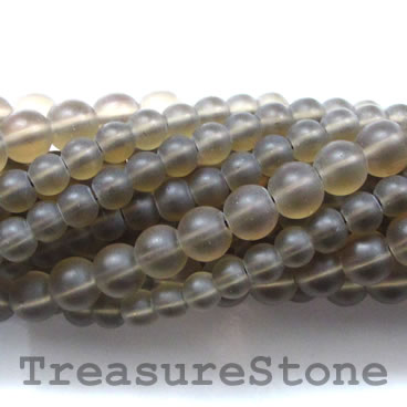 Bead, synthetic smoky quartz, 6mm round, matte. 16-inch, 67pcs