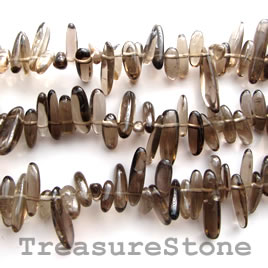 Bead, smoky quartz, 10-20mm top-drilled. 16-inch strand.