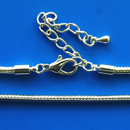 Chain,rhodium-plated brass,3mm snake,18 inches.Sold individually