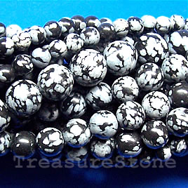 Bead, snowflake obsidian, grade B, 6mm round. 15.5-inch, 63pcs