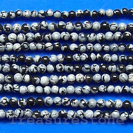 Bead, snowflake obsidian, 2mm round. 16-inch strand.