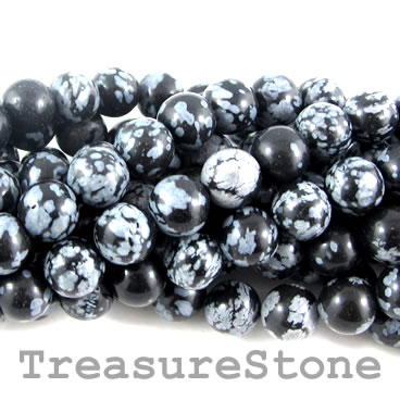 Bead, snowflake obsidian, grade B, 8mm round. 14.5-inch, 47pcs