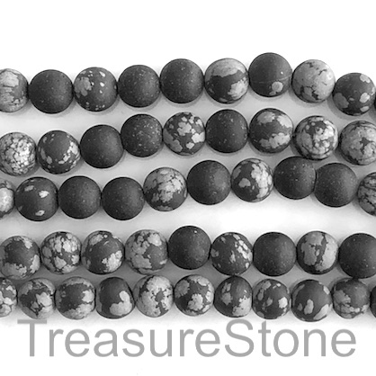 Bead, snowflake obsidian,grade B-, 8mm round, . 14.5-inch, 47pcs