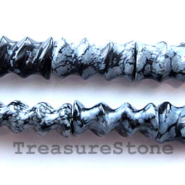 Bead, snowflake, 8x10x20mm carved tube. 15-inch strand.