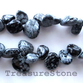 Bead, snowflake obsidain, 13x15mm top-drilled. 15.5-inch strand.