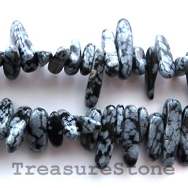 Bead, snowflake obsidian, 6x20mm top-drilled chip. 16-inch.