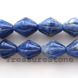 Bead, sodalite, 12x14mm carved bicone. 16-inch strand.