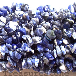 Bead, sodalite, chips. 36-inch strand.
