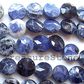 Bead, sodalite, 10x4mm faceted puffed Round. 16-inch strand.