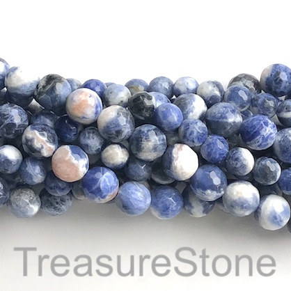 Bead, sodalite, 10mm faceted round, grade B-. 15-inch, 39pcs