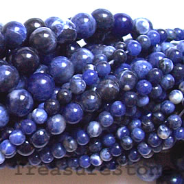 Bead, sodalite, 6mm round. 16-inch strand. - Click Image to Close
