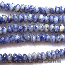 Bead, sodalite, 4x6mm rondelle. 16-inch strand.