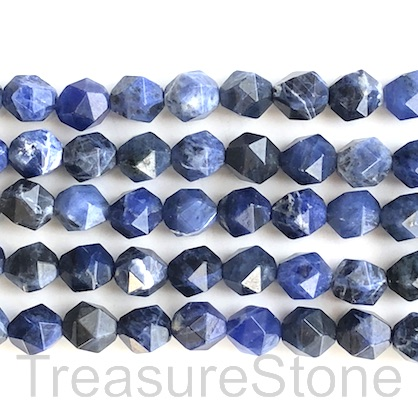 Bead, sodalite, 9x10mm faceted, star cut. 15-inch, 36pcs