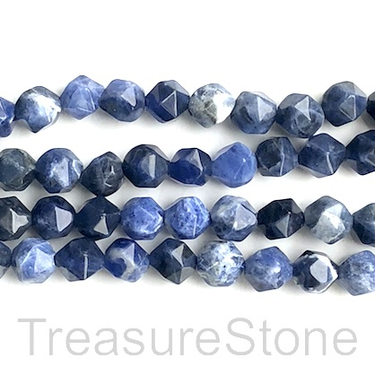 "Bead, sodalite, 8mm, faceted nugget,star cut, grade B. 14.5"", 47"
