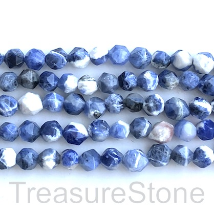 "Bead, sodalite, 8mm, faceted nugget,star cut, grade C. 15"", 48"