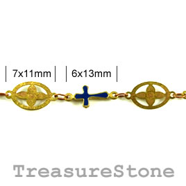 Chain, solid brass, 7x11mm/6x13mm. Sold by meter.