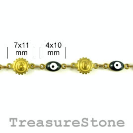 Chain, solid brass, 7x11mm/4x10mm. Sold by meter.