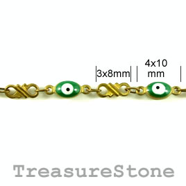 Chain, solid brass, 3x8mm/4x10mm. Sold by meter.