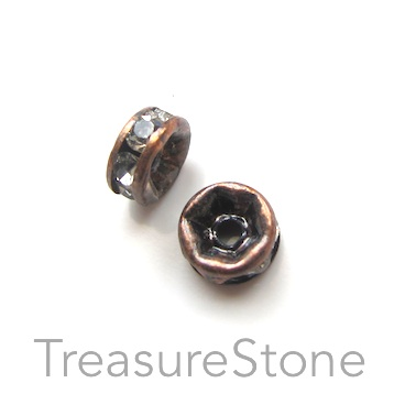 A wholesale, Spacer bead, copper plated, clear, 6mm round. 100pc