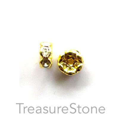 A wholesale, Spacer bead, gold plated, clear, 6mm round. 100pcs