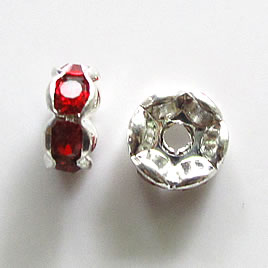 Spacer bead, silver plated brass, red, 8mm round. Pkg of 5