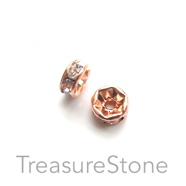 A wholesale, Spacer bead, rose gold plated, clear, 7mm. 100pcs