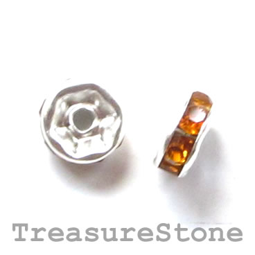 Spacer bead, silver plated brass, amber, 6mm round. Pkg of 5.