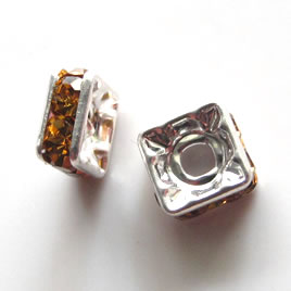 Spacer bead, silver plated brass, amber, 6mm square. Pkg of 5