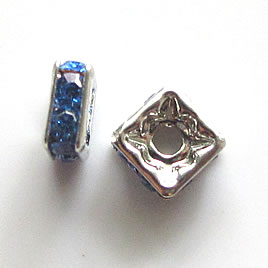 Spacer bead, silver plated brass, blue, 6mm square. Pkg of 5