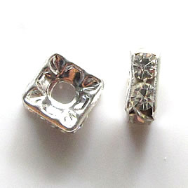 A wholesale,Spacer bead, silver plated,clear, 6mm square. 100pcs