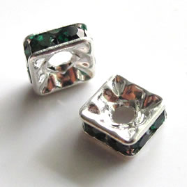 Spacer bead, silver plated brass, emerald, 6mm square. Pkg of 5