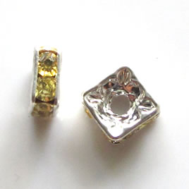 Spacer bead, silver plated brass, lemon, 6mm square. Pkg of 5