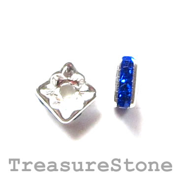 Spacer bead, silver plated brass, royal blue, 6mm square. 5pcs