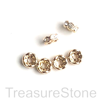 A wholesale, Spacer bead, light gold plated, clear, 6mm. 100pcs
